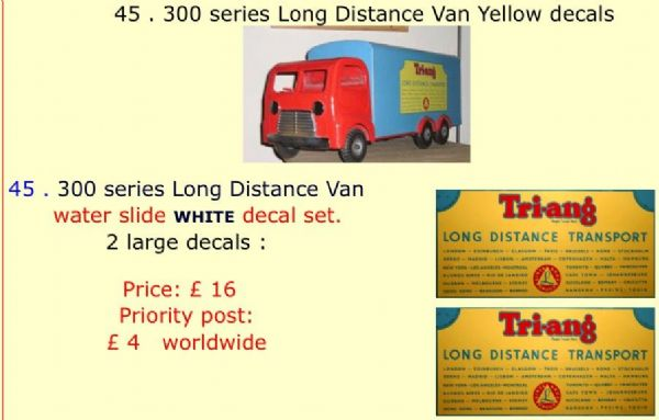 45 . Tri-ang 300 series Long Distance Van Yellow decals